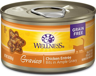 Wellness Natural Grain-Free Gravies Chicken Dinner Canned Cat Food, 3-oz, case of 12