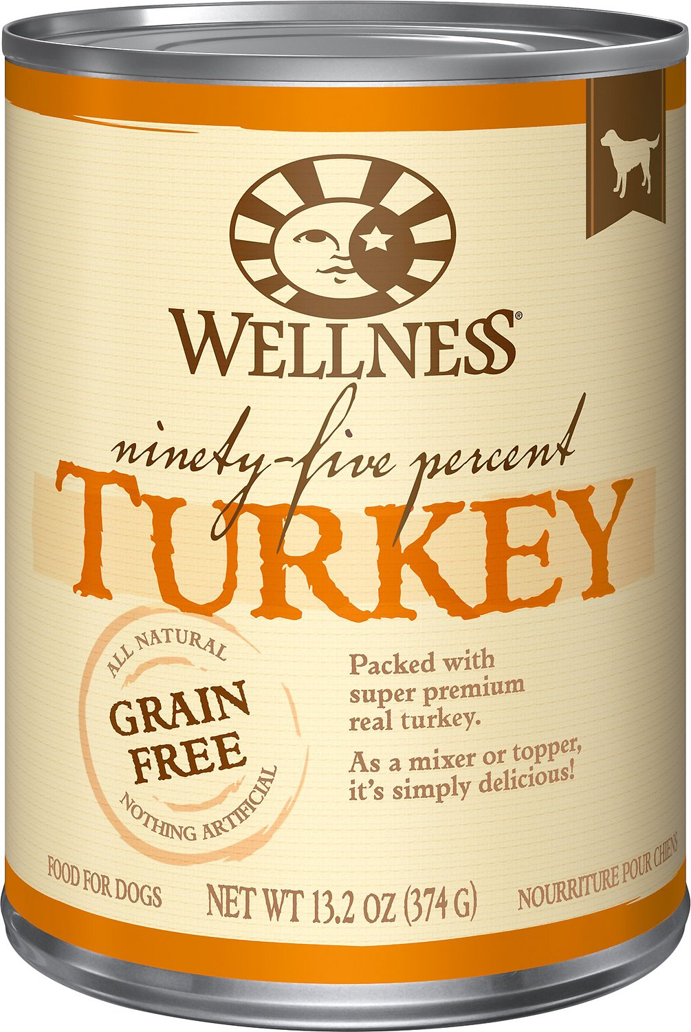 Wellness 95% Turkey Grain-Free Canned Dog Food, 13.2-oz