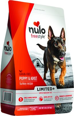 Nulo Dog Freestyle Limited+ Turkey Recipe Grain-Free Puppy & Adult Dry Dog Food, 4-lb bag