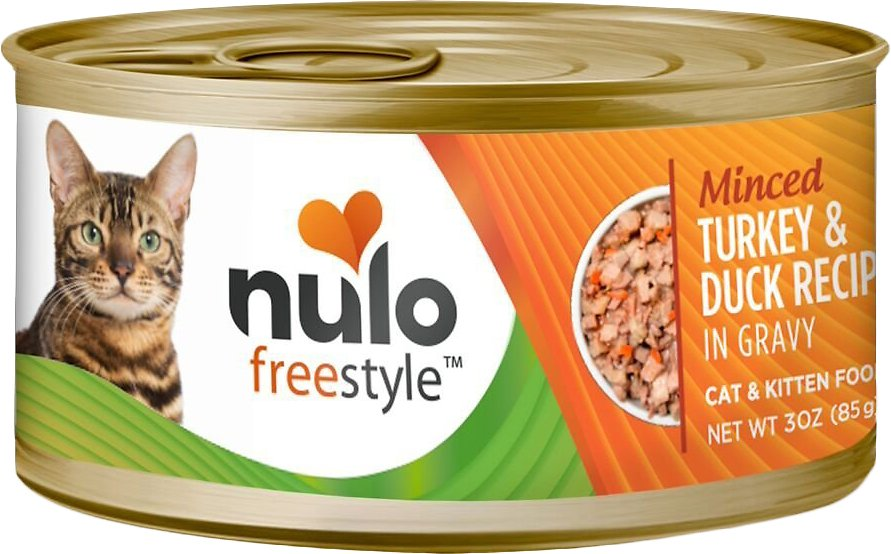 Nulo Cat Freestyle Minced Turkey & Duck in Gravy Grain-Free Canned Cat & Kitten Food, 3-oz