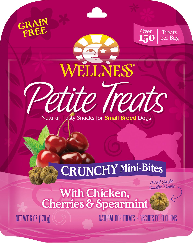 Wellness Petite Treats Crunchy Mini-Bites with Chicken, Cherries & Spearmint Grain-Free Dog Treats, 6-oz bag
