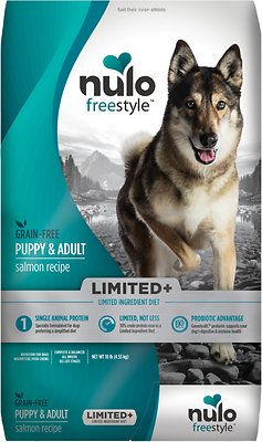 Nulo Dog Freestyle Limited+ Salmon Recipe Grain-Free Puppy & Adult Dry Dog Food, 10-lb bag