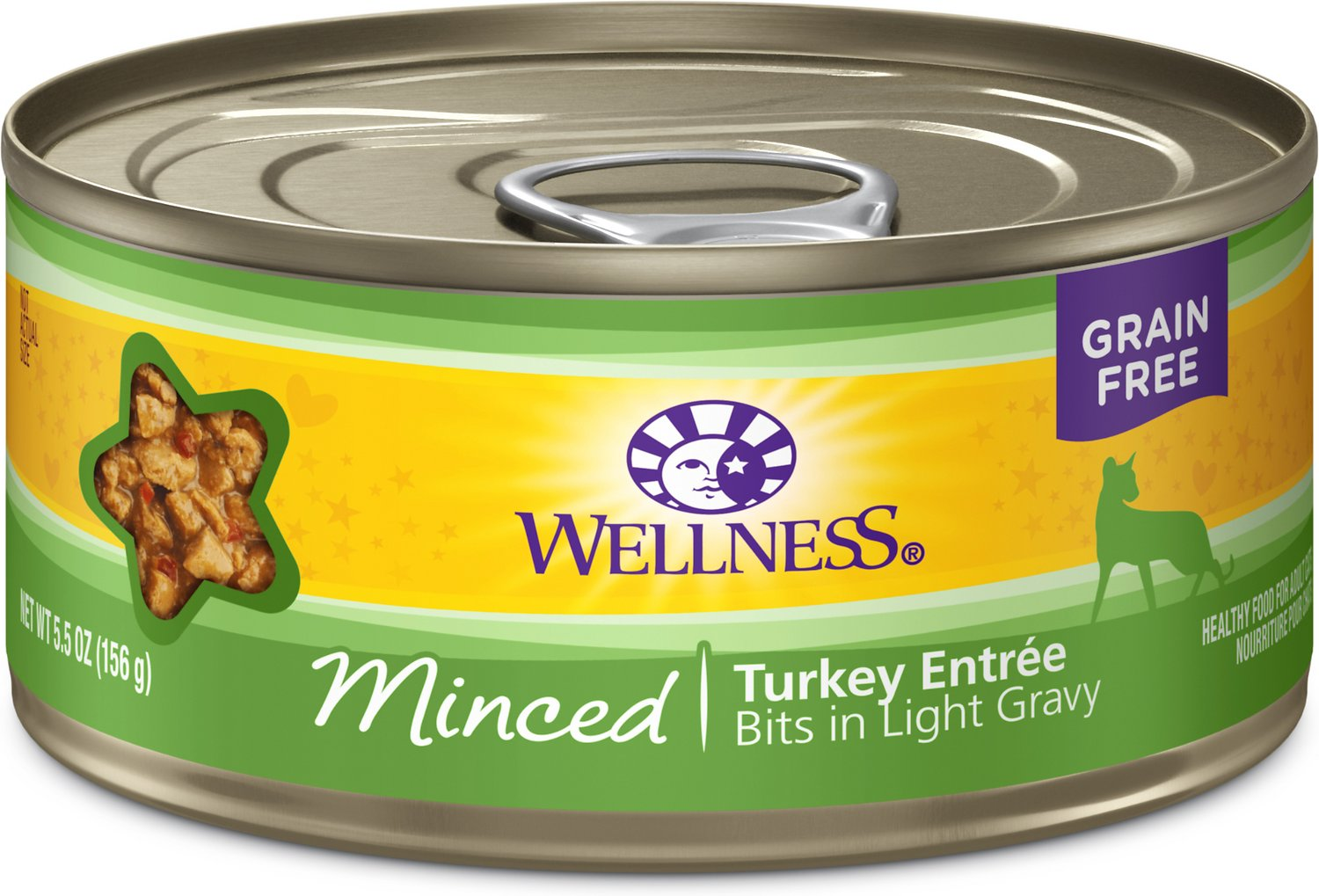 Wellness Minced Turkey Entree Grain-Free Canned Cat Food, 3-oz