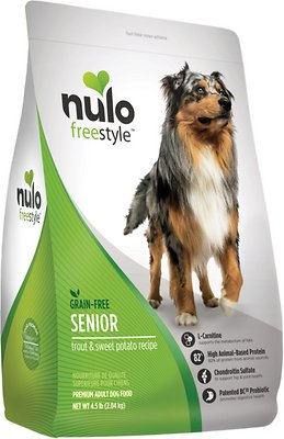 Nulo Dog Freestyle Trout & Sweet Potato Recipe Grain-Free Senior Dry Dog Food, 4.5-lb bag