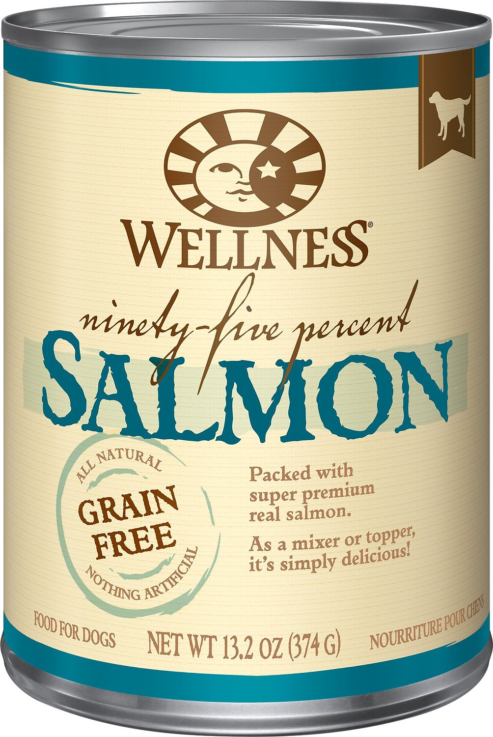 Wellness 95% Salmon Grain-Free Canned Dog Food, 13.2-oz