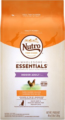 Nutro Wholesome Essentials Indoor Adult Farm-Raised Chicken & Brown Rice Recipe Dry Cat Food