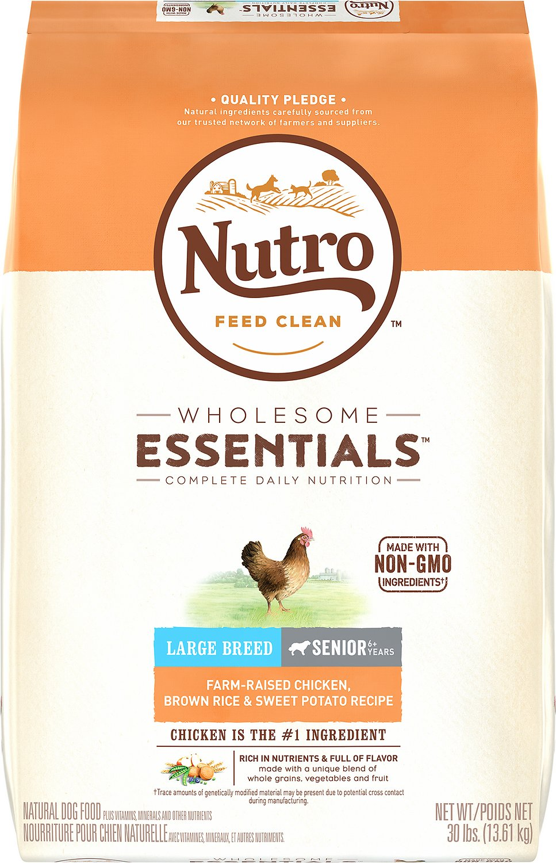 Nutro Wholesome Essentials Large Breed Senior Farm Raised Chicken, Brown Rice & Sweet Potato Recipe Dry Dog Food, 30-lb bag