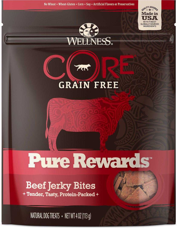 Wellness CORE Pure Rewards Grain-Free Beef Jerky Bits Dog Treats, 4-oz bag