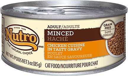 Nutro Adult Minced Chicken Cuisine in Tasty Gravy Grain-Free Canned Cat Food, 3-oz