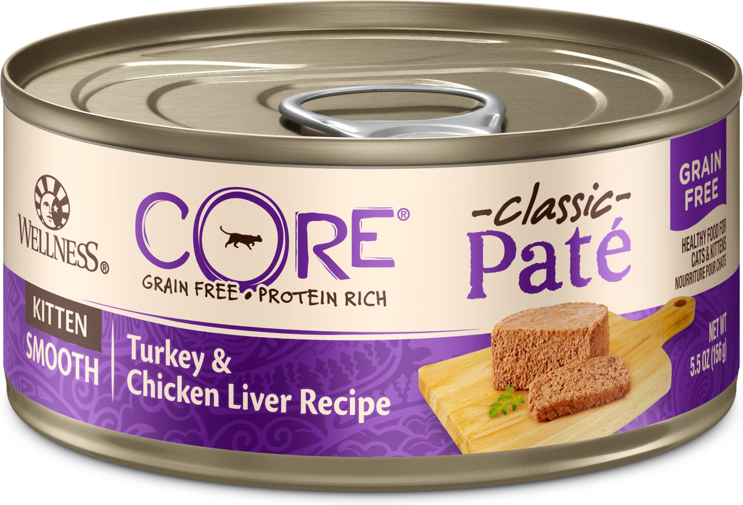 Wellness CORE Natural Grain-Free Turkey & Chicken Liver Pate Canned Kitten Food, 5.5-oz