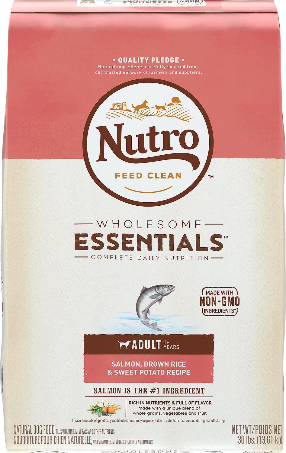 Nutro Wholesome Essentials Adult Salmon, Brown Rice & Sweet Potato Recipe Dry Dog Food, 30-lb bag Image
