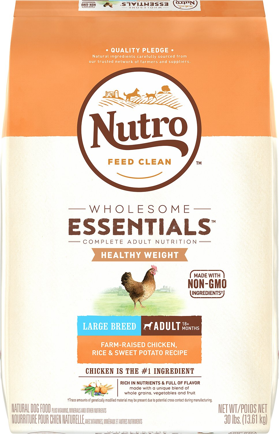 Nutro Wholesome Essentials Healthy Weight Large Breed Adult Farm Raised Chicken, Rice & Sweet Potato Recipe Dry Dog Food, 30-lb bag