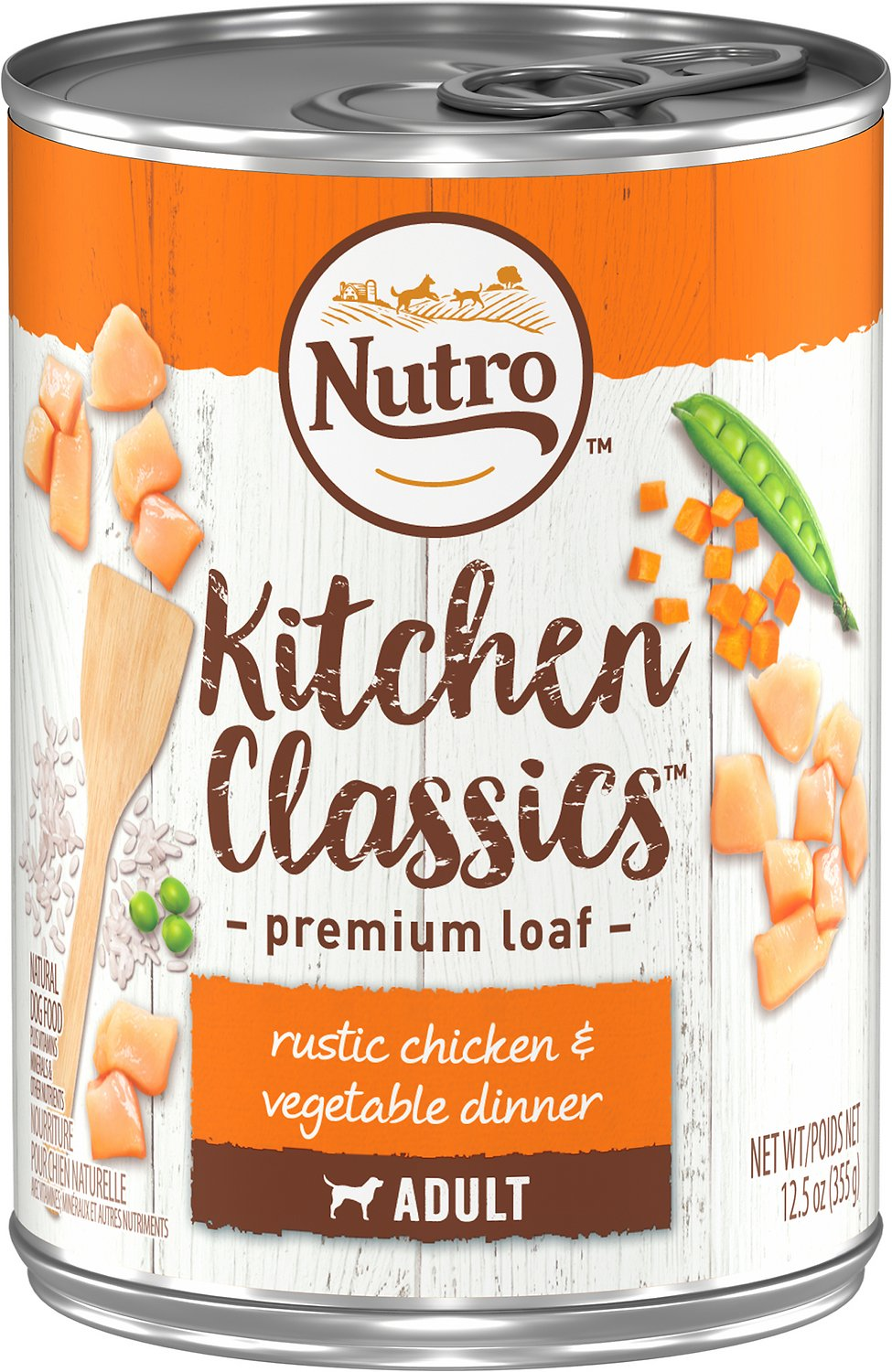 Nutro Adult Kitchen Classics Rustic Chicken & Vegetable Dinner Canned Dog Food, 12.5-oz