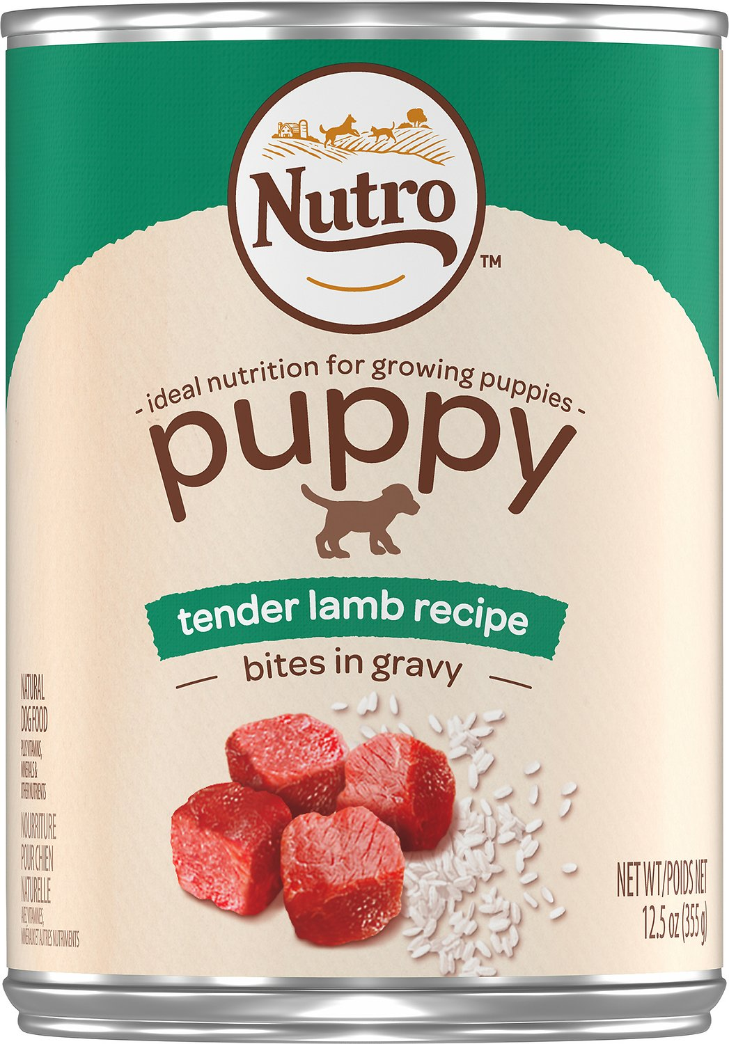 Nutro Large Breed Puppy Tender Lamb Recipe Bites In Gravy Canned Dog Food, 12.5-oz