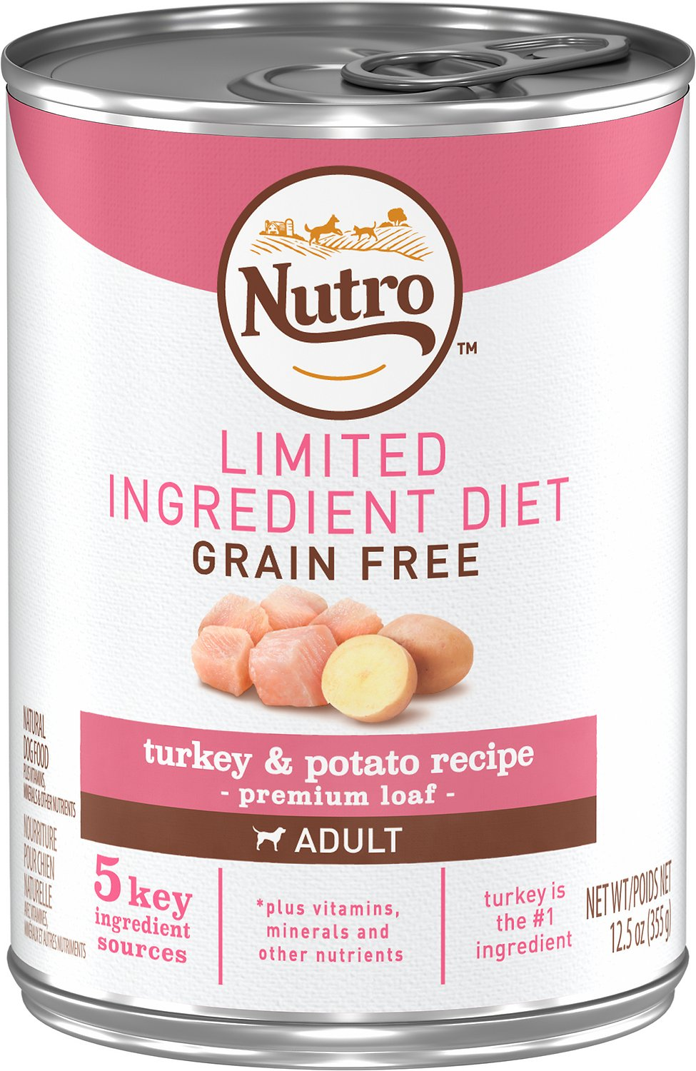 Nutro Limited Ingredient Diet Grain-Free Adult Farm Raised Turkey & Potato Recipe Canned Dog Food, 12.5-oz, case of 12 Image