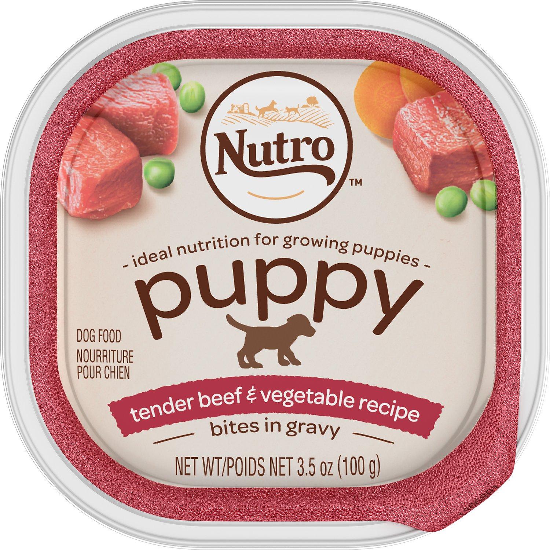 Nutro Puppy Tender Beef & Vegetable Recipe Bites In Gravy Dog Food Trays, 3.5-oz