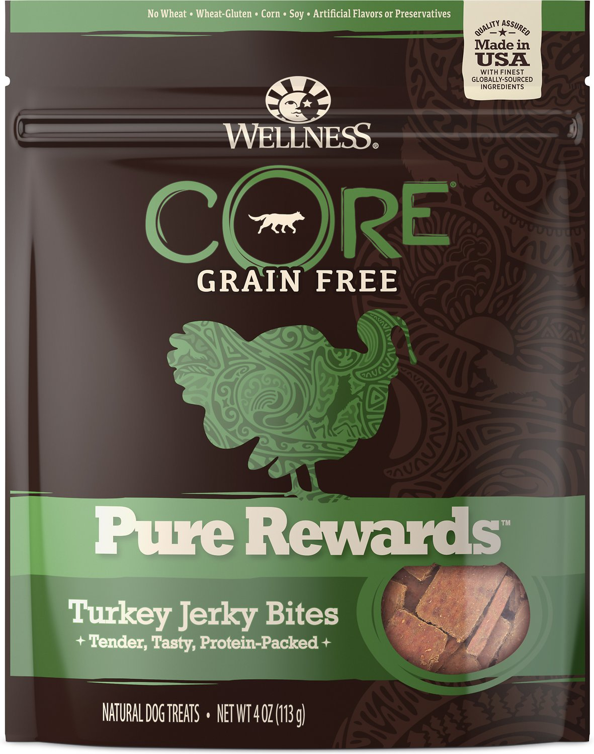 Wellness CORE Pure Rewards Grain-Free Turkey Jerky Bites Dog Treats, 4-oz bag