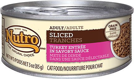Nutro Adult Sliced Turkey Entree in Savory Sauce Grain-Free Canned Cat Food, 3-oz