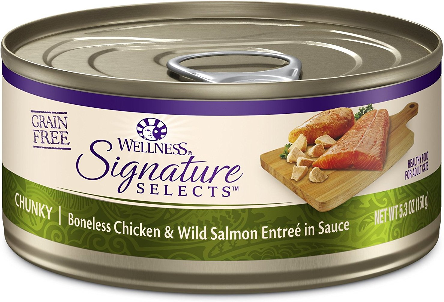 Wellness CORE Signature Selects Chunky Boneless Chicken & Wild Salmon Entree in Sauce Grain-Free Canned Cat Food, 5.3-oz