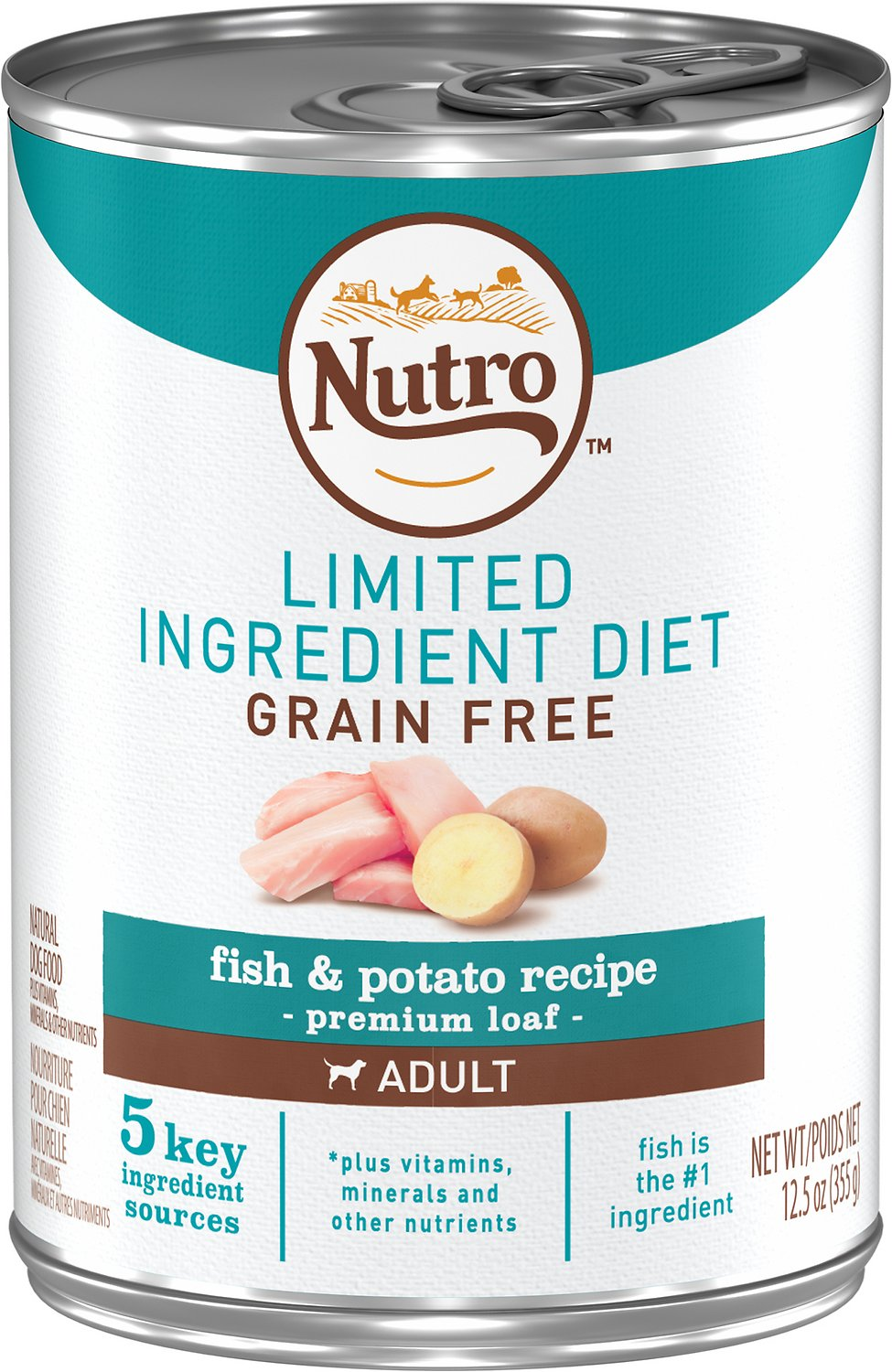 Nutro Limited Ingredient Diet Grain-Free Adult Fish & Potato Recipe Canned Dog Food, 12.5-oz, case of 12 Image