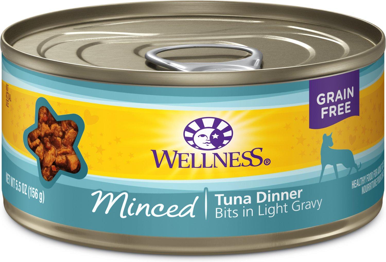 Wellness Minced Tuna Dinner Grain-Free Canned Cat Food, 3-oz