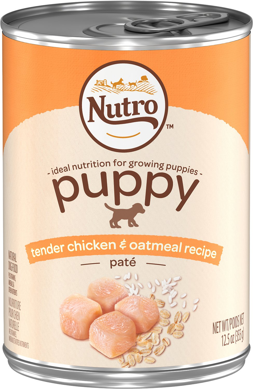Nutro Puppy Tender Chicken & Oatmeal Recipe Pate Canned Dog Food, 12.5-oz