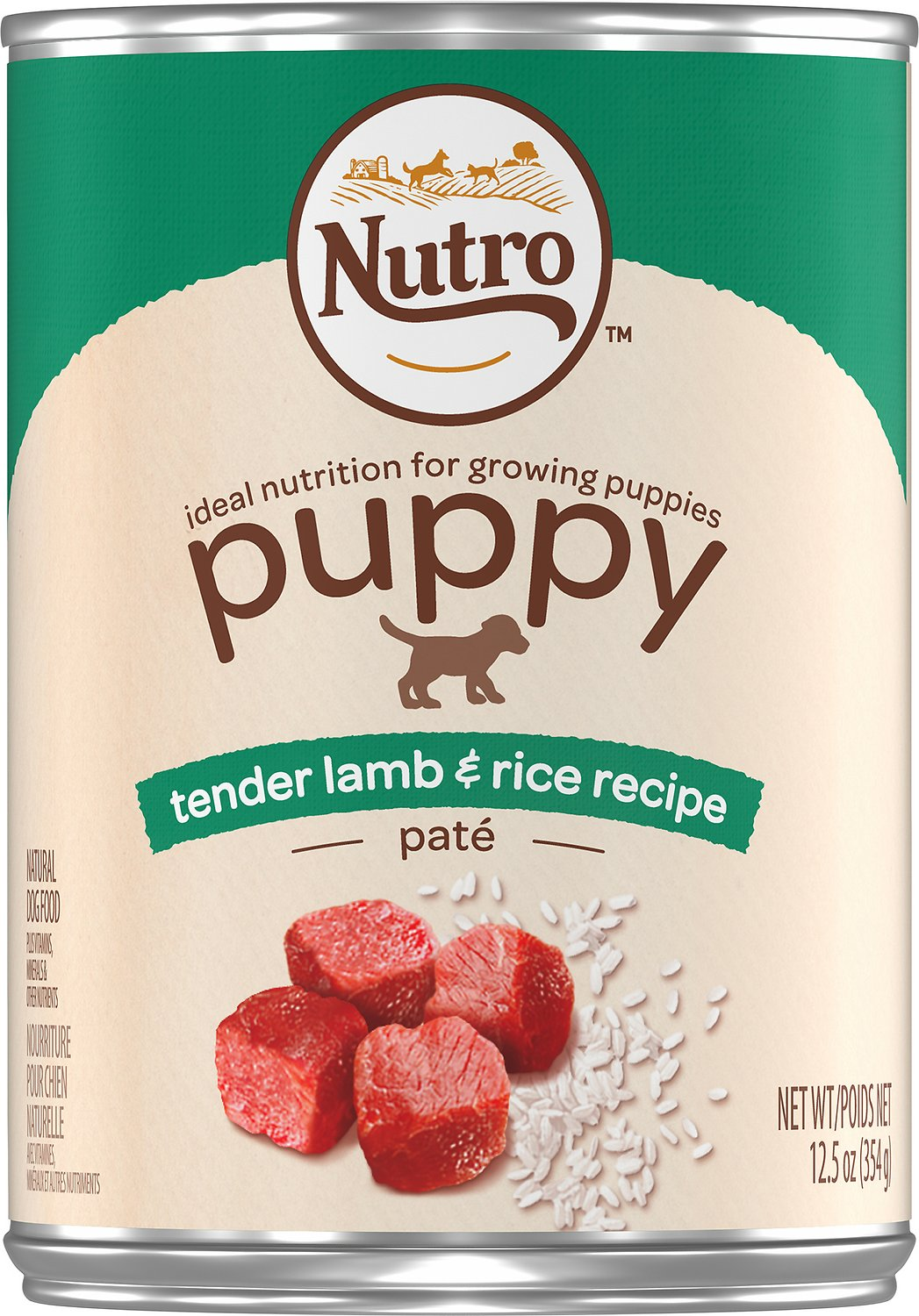 Nutro Puppy Tender Lamb & Rice Recipe Pate Canned Dog Food, 12.5-oz