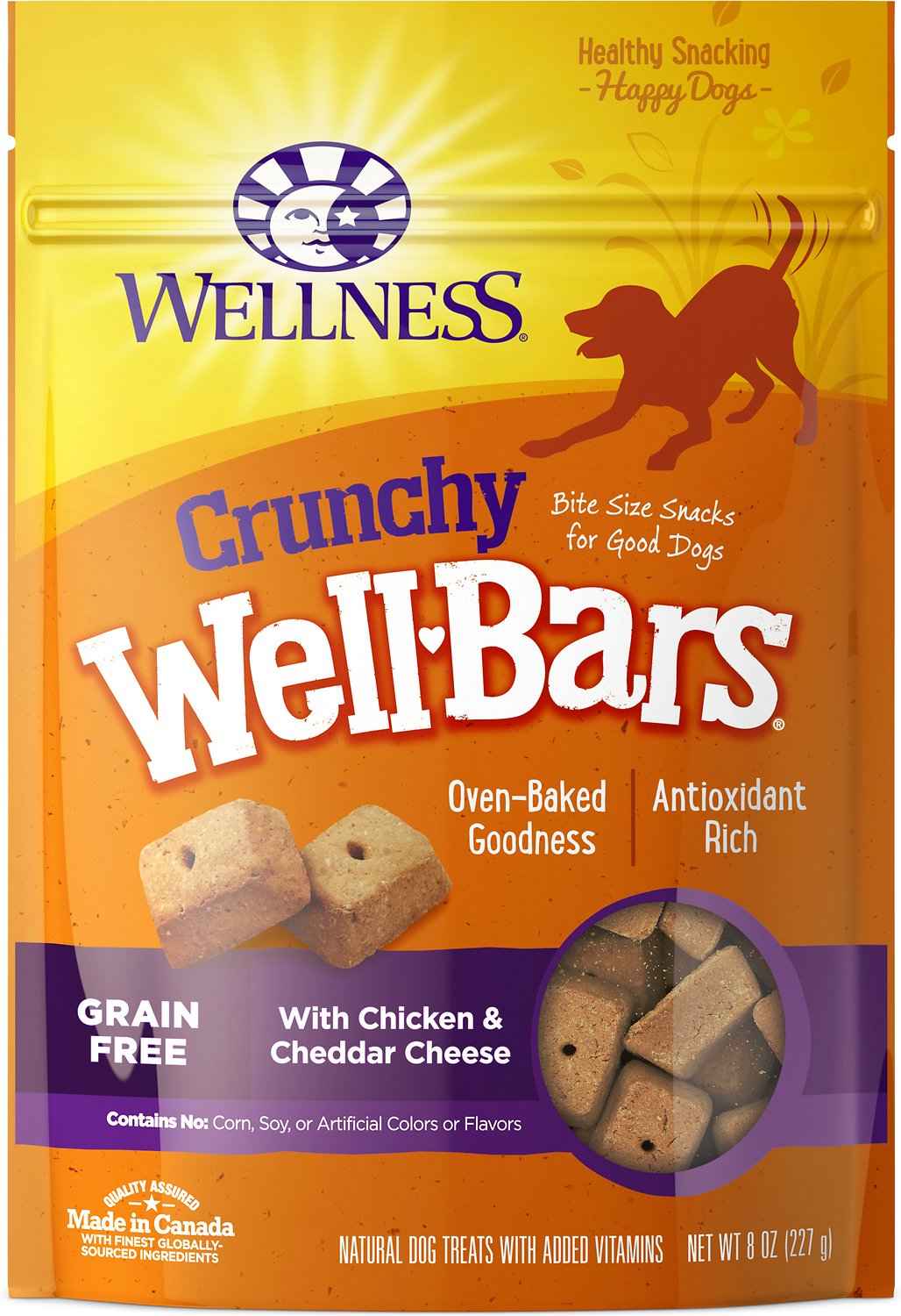 Wellness Grain-Free Crunchy WellBars Chicken & Cheddar Cheese Baked Dog Treats, 20-oz bag