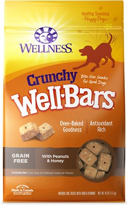 Wellness WellBars Crunchy Peanuts & Honey Baked Dog Treats, 45-oz bag