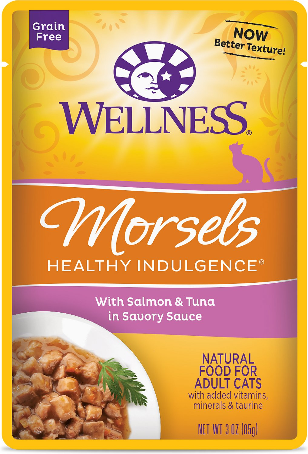 Wellness Healthy Indulgence Morsels with Salmon & Tuna in Savory Sauce Grain-Free Wet Cat Food Pouches, 3-oz