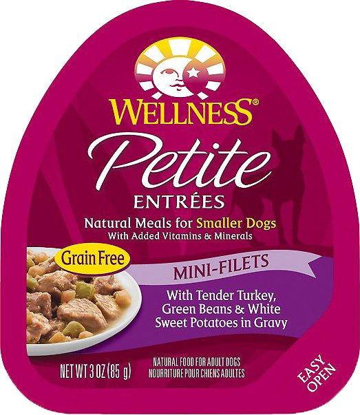 Wellness Petite Entrees Mini-Filets with Tender Turkey, Green Beans & White Sweet Potatoes in Gravy Grain-Free Wet Dog Food, 3-oz