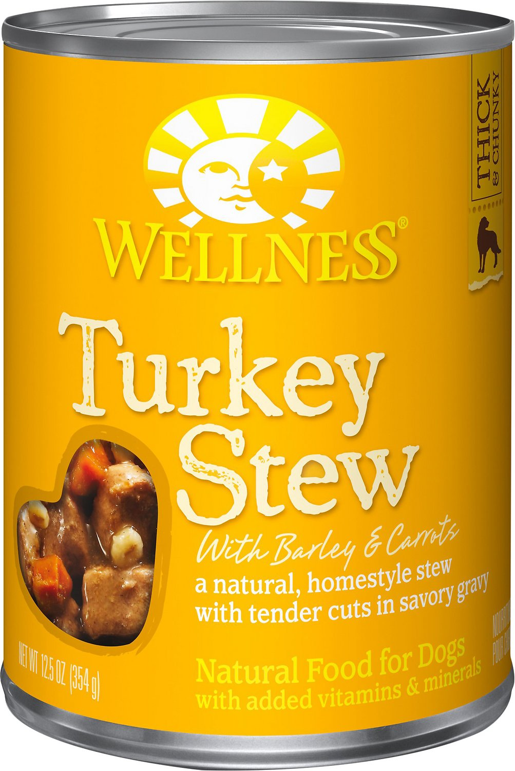 Wellness Turkey Stew with Barley & Carrots Canned Dog Food, 12.5-oz