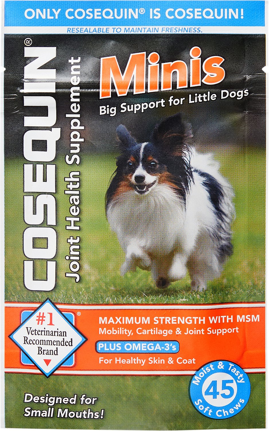 Nutramax Cosequin Maximum Strength with MSM Plus Omega-3's Mini Soft Chews Joint Health Small Dog Supplement, 45 count