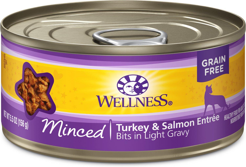 Wellness Minced Turkey & Salmon Entree Grain-Free Canned Cat Food, 5.5-oz
