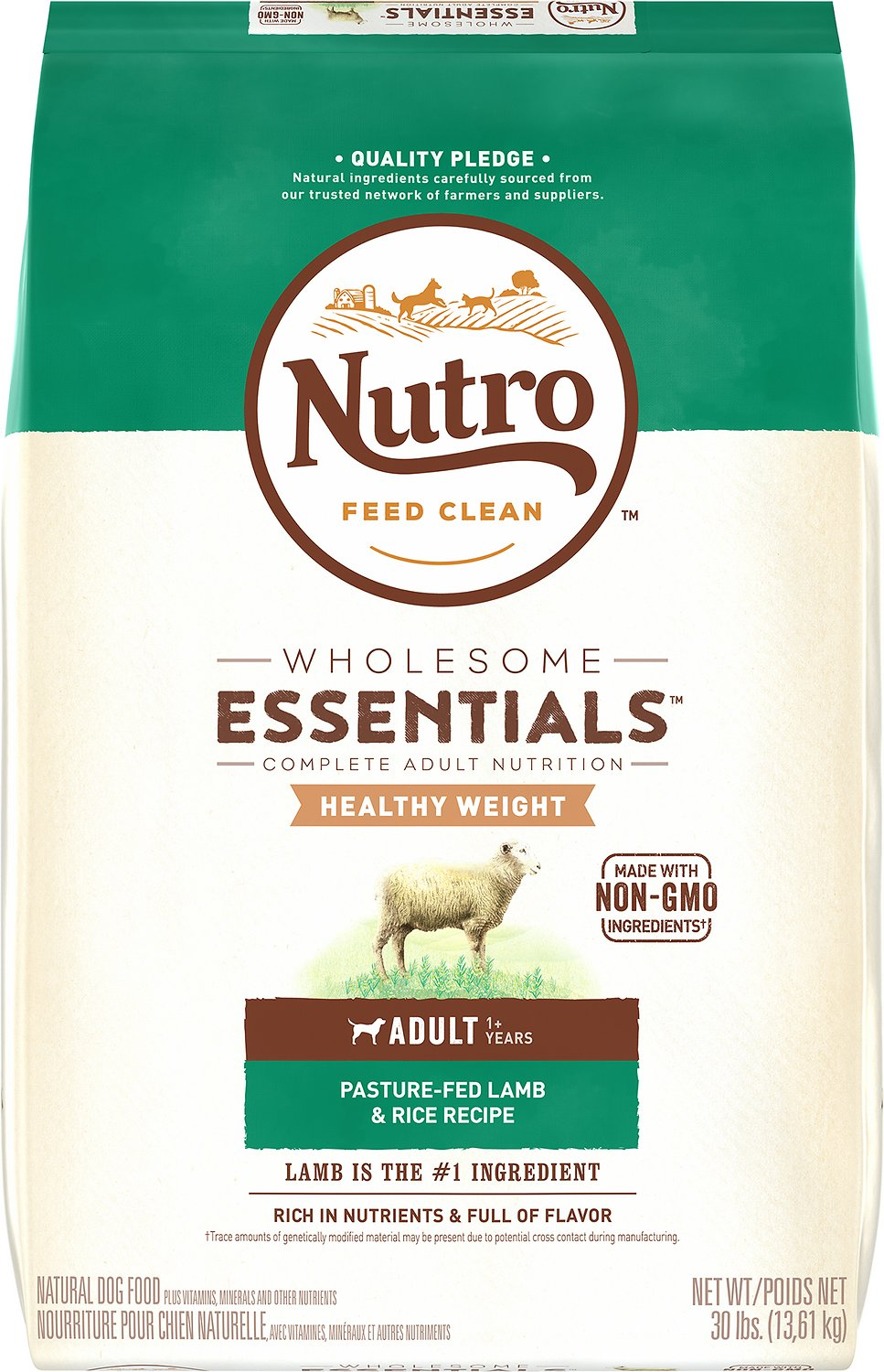 Nutro Wholesome Essentials Healthy Weight Adult Pasture Fed Lamb & Rice Recipe Dry Dog Food, 30-lb bag Image