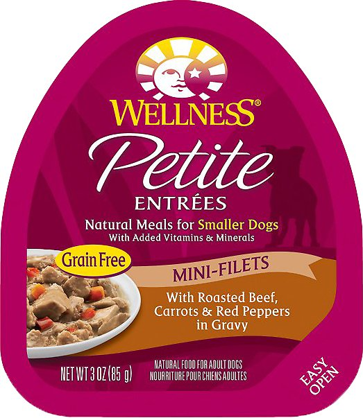 Wellness Petite Entrees Mini-Filets with Roasted Beef, Carrots & Red Peppers in Gravy Grain-Free Wet Dog Food, 3-oz