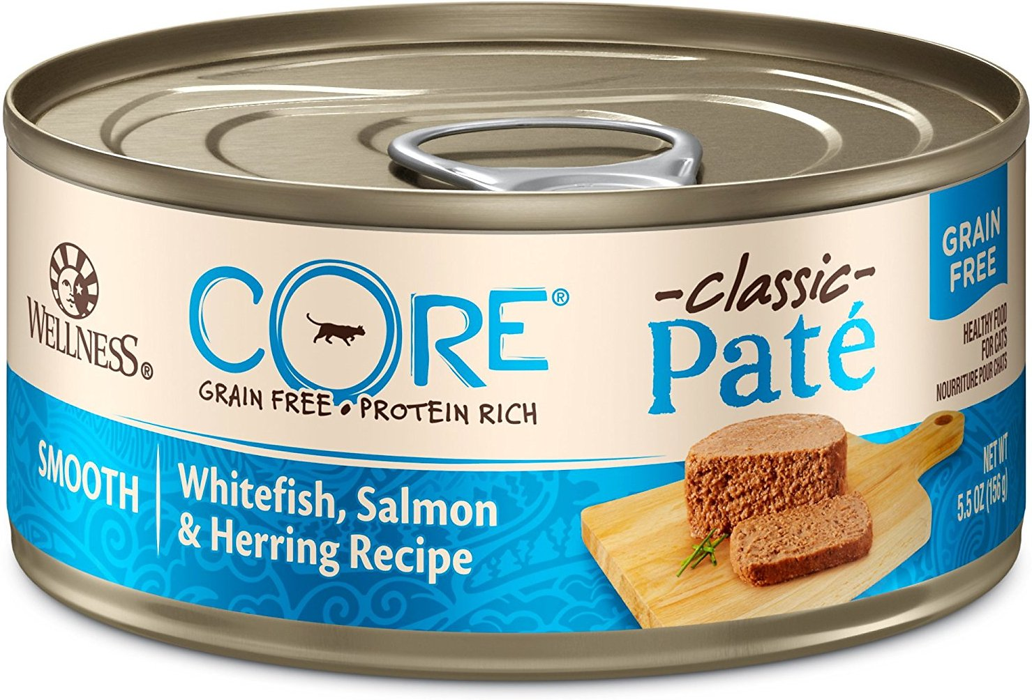 Wellness CORE Grain-Free Salmon, Whitefish & Herring Formula Canned Kitten & Cat Food, 5.5-oz