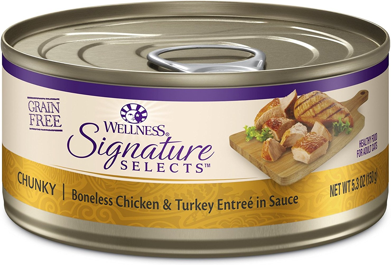 Wellness CORE Signature Selects Chunky Boneless Chicken & Turkey Entree in Sauce Grain-Free Canned Cat Food, 5.3-oz