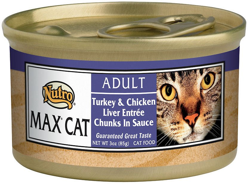 Nutro Max Adult Turkey & Chicken Liver Entree Chunks in Sauce Canned Cat Food, 3-oz