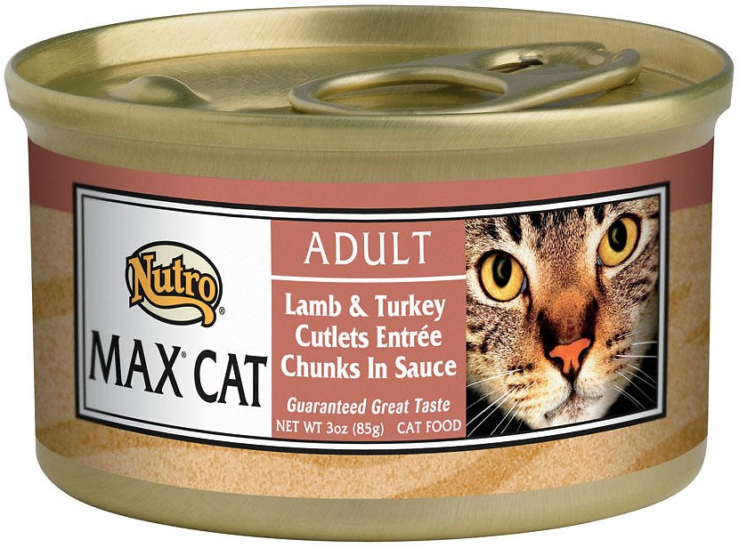 Nutro Max Adult Lamb & Turkey Cutlets Entree Chunks in Sauce Canned Cat Food, 3-oz