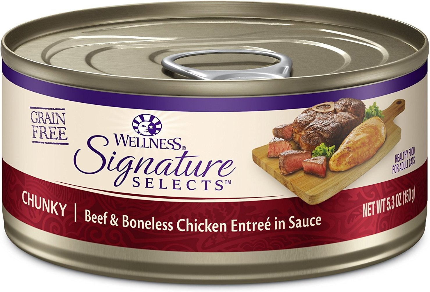 Wellness CORE Signature Selects Chunky Beef & Boneless Chicken Entree in Sauce Grain-Free Canned Cat Food, 5.3-oz