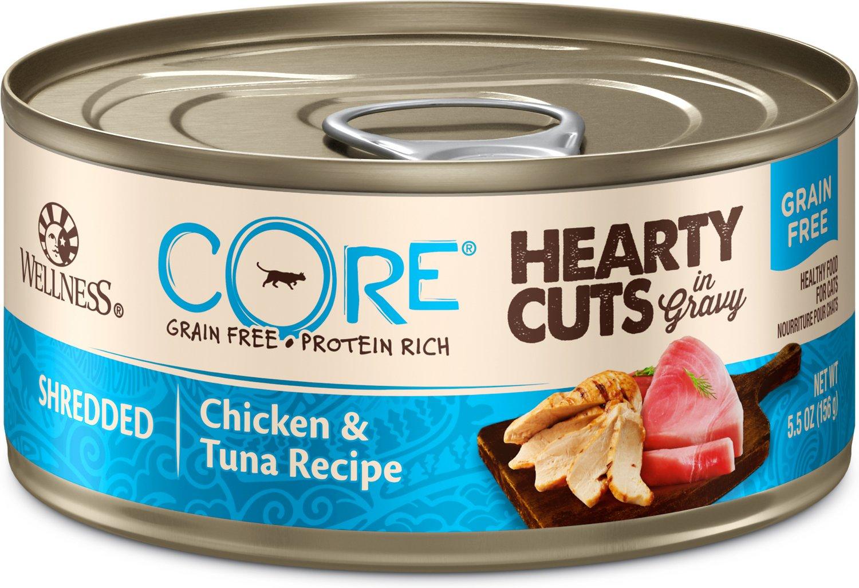 Wellness CORE Grain-Free Hearty Cuts in Gravy Shredded Chicken & Tuna Recipe Canned Cat Food, 5.5-oz