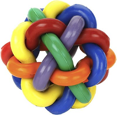 Multipet Nobbly Wobbly Ball Dog Toy, Color Varies, 4-in