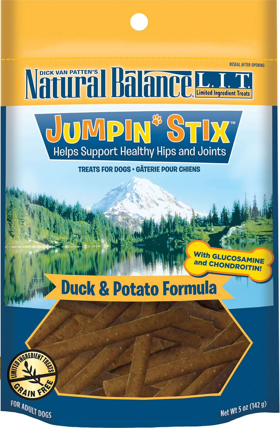 Natural Balance L.I.T. Limited Ingredient Treats Jumpin' Stix Duck & Potato Formula Dog Treats, 5-oz bag