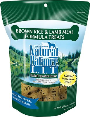 Natural Balance L.I.T. Limited Ingredient Treats Brown Rice & Lamb Meal Formula Dog Treats, Regular Breed, 14-oz bag