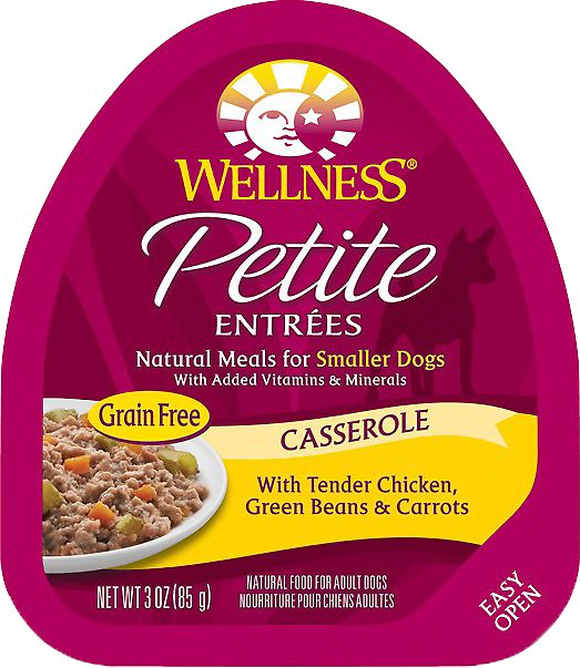 Wellness Petite Entrees Casserole with Tender Chicken, Green Beans & Carrots Grain-Free Wet Dog Food, 3-oz