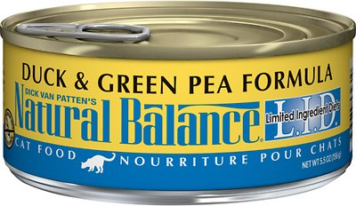 Natural Balance L.I.D. Limited Ingredient Diets Duck & Green Pea Formula Grain-Free Canned Cat Food, 5.5-oz, case of 24