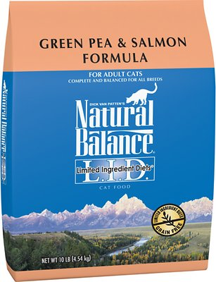 Natural Balance L.I.D. Limited Ingredient Diets Green Pea & Salmon Formula Grain-Free Dry Cat Food, 10-lb bag