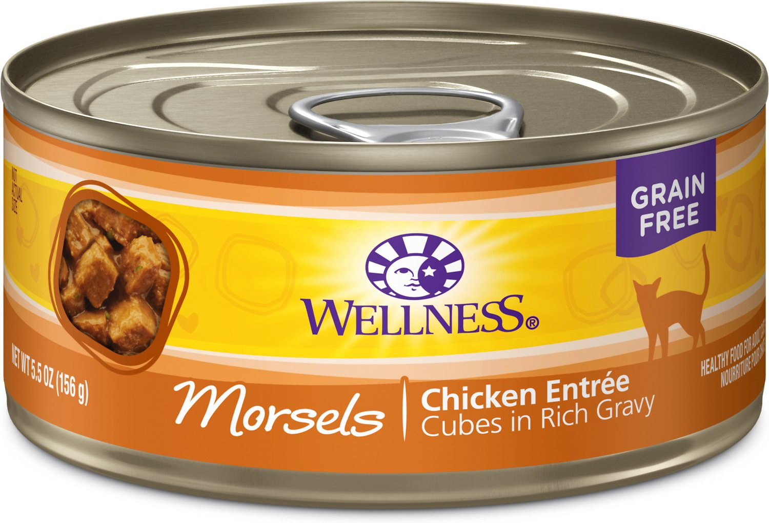 Wellness Morsels Chicken Entree Grain-Free Canned Cat Food, 3-oz