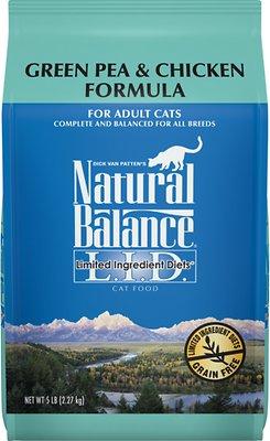 Natural Balance L.I.D. Limited Ingredient Diets Green Pea & Chicken Formula Grain-Free Dry Cat Food, 5-lb bag